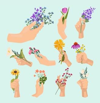 Flores nas mãos. senhoras de beleza mão segurando várias plantas frescas de senhora buquê colorido vetor coleção de desenhos animados. desenho de flor desabrochando, ilustração botânica de flor