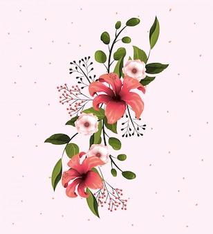 Flores naturais com pétalas e ramos de folhas