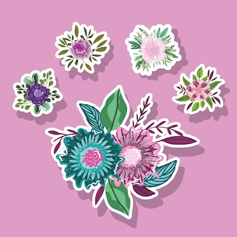 Flores natureza deixa folhagem decoração ícones de estilo adesivos