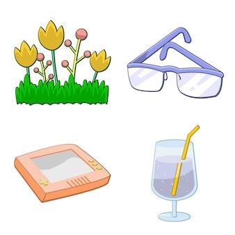 Flores, óculos de sol, videogame e coquetel