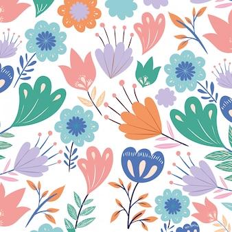 Flores padrão com folhas ícone isolado