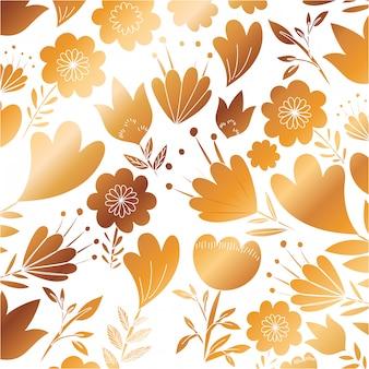 Flores padrão com ícone dourado de folhas