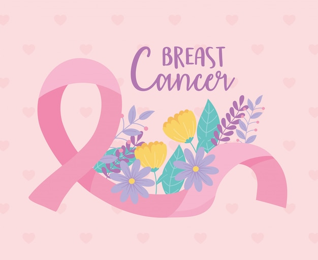 Flores para a conscientização do câncer de mama e ilustração e design inspirador do vetor da fita