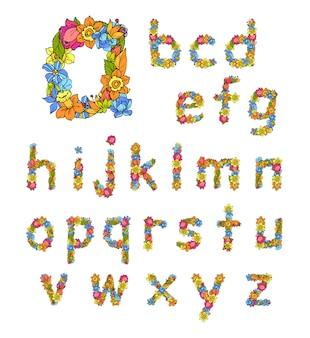 Flores pequenas letras coloridas