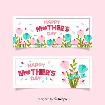 Flores planas dia das mães banner