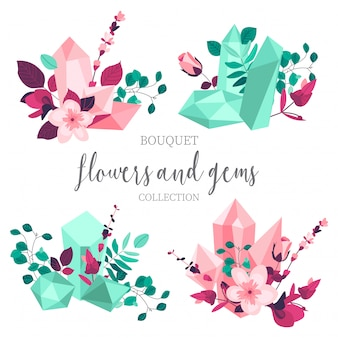 Flores planas e pedras preciosas