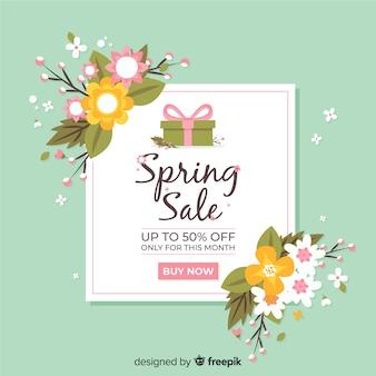 Flores planas fundo de venda de primavera
