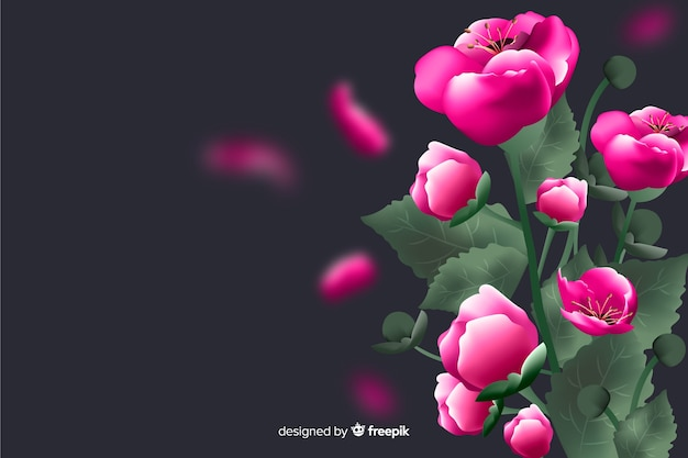 Flores realistas em um fundo escuro