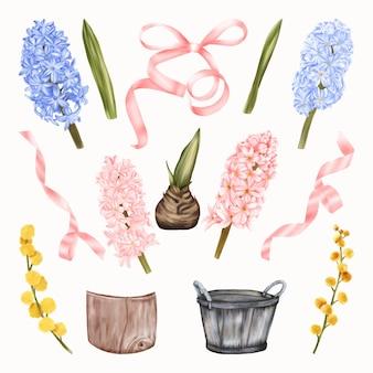 Flores rosa e amarelas, jacintos e flores de mimosa de primavera com folhas verdes, laço de fita em pote de palha