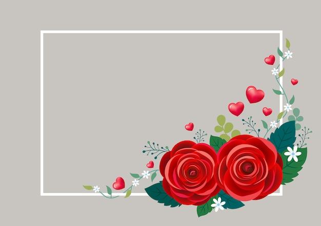 Flores rosas com corações e moldura branca para o dia dos namorados