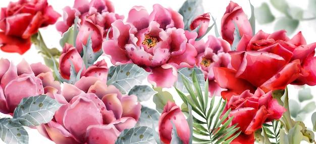 Flores rosas em estilo aquarela
