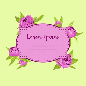 Flores roxas do vintage em torno do frame com sinal. concurso banner retrô com peônias.
