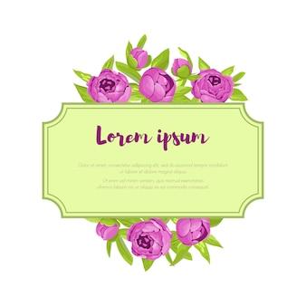 Flores roxas do vintage em torno do quadro