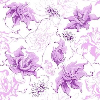 Flores roxas, sem costura