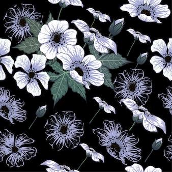 Flores selvagens brancas sem costura padrão.