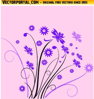 Flores selvagens em violeta com redemoinhos vetor