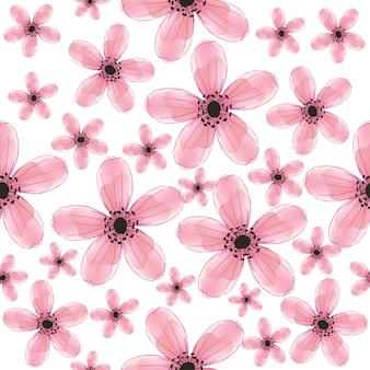 Flores selvagens rosa padrão sem emenda.
