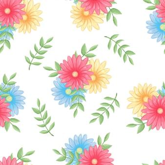 Flores sem costura padrão, verde floresta, cinza deixa festão, fundo branco. bandeira de convite de casamento. arranjo floral.