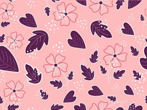 Flores sem emenda com folhas decoradas em fundo rosa claro.