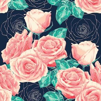 Flores sem emenda de rosa do teste padrão na obscuridade - bacground azul.
