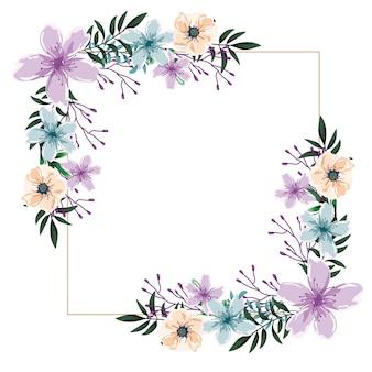 Flores silvestres em aquarela com moldura floral