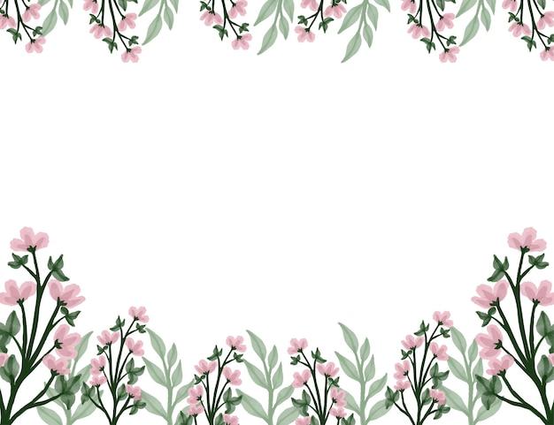 Flores silvestres rosa com fundo branco