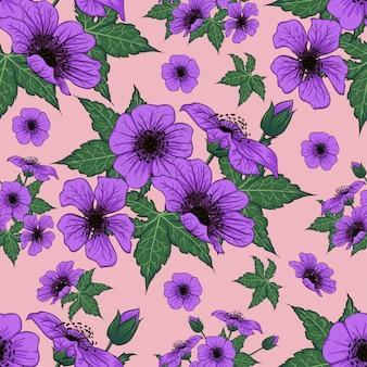 Flores silvestres roxo padrão sem emenda.