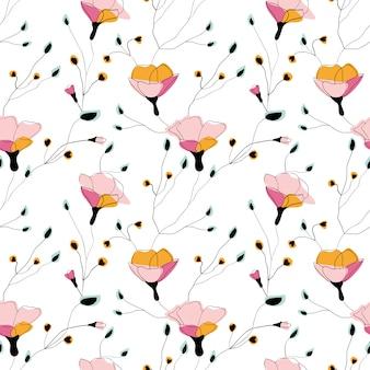 Flores silvestres sem costura padrão no fundo branco