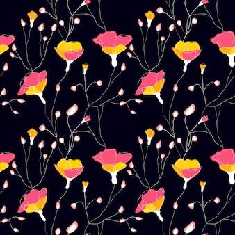 Flores silvestres sem costura padrão