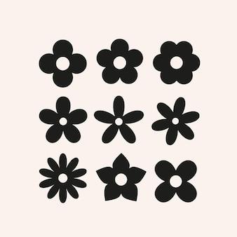 Flores simples fofas silhuetas de formas florais básicas para design