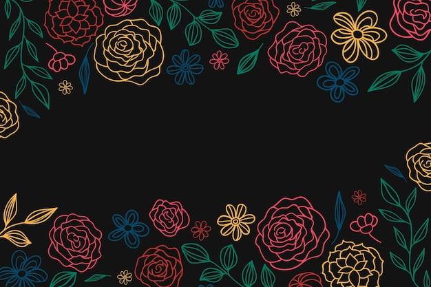 Flores sobre fundo de quadro-negro