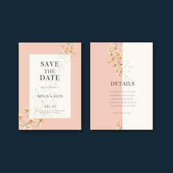 Flores tailandesas design de cartão de casamento