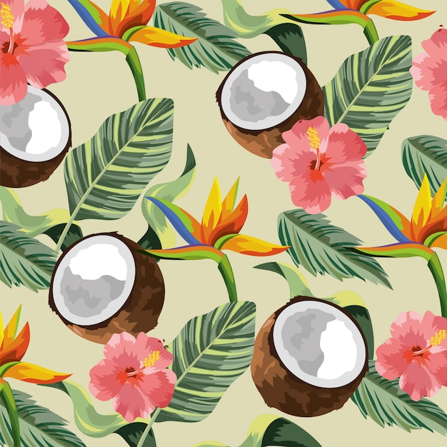 Flores tropicais com coco e folhas de fundo