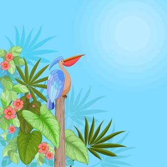 Flores tropicais com folhas e pássaros