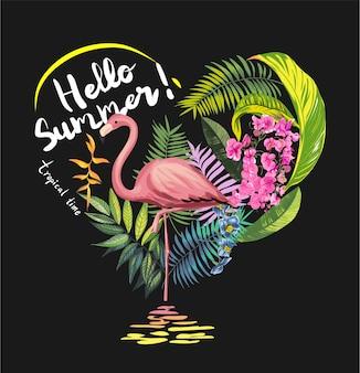 Flores tropicais com ilustração de flamingo