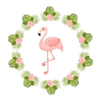 Flores tropicais e flamingo verão banner gráfico fundo convite floral exótico