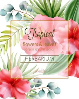 Flores tropicais e folhas de herbário com lugar para texto