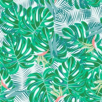 Flores tropicais e folhas de plantas selva vetor sem costura padrão. impressão floral exótica para fatos de banho, tecidos, papéis de parede