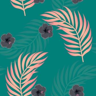 Flores tropicais e folhas de plantas selva vetor sem costura padrão