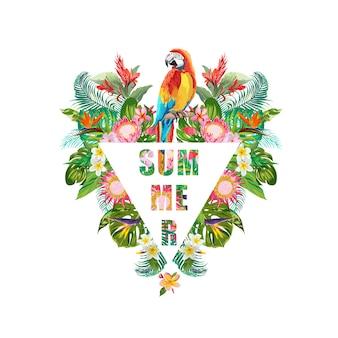 Flores tropicais e fundo de pássaro papagaio. design de verão .. gráfico de moda de camisetas. exótico.