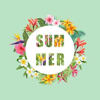 Flores tropicais e palmeiras verão banner, plano de fundo gráfico, convite floral exótico, folheto ou cartão. página inicial moderna