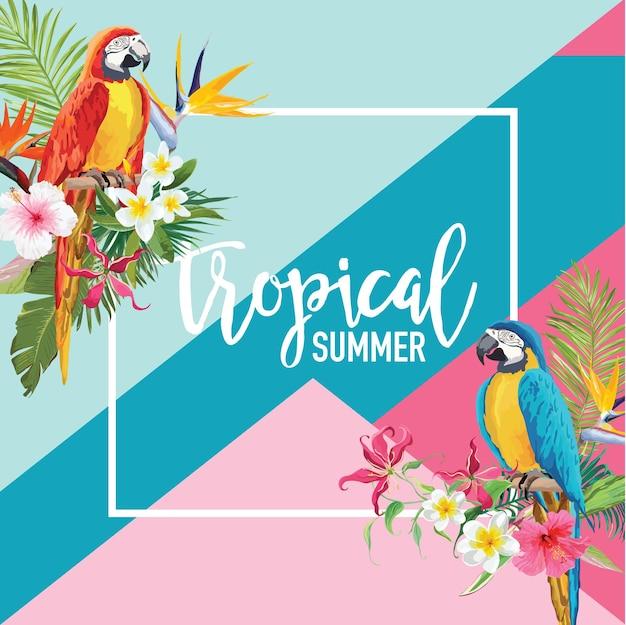 Flores tropicais e pássaros de papagaio banner de verão, plano de fundo gráfico, convite floral exótico, folheto ou cartão. página inicial moderna