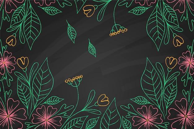 Flores tropicais em fundo de quadro-negro