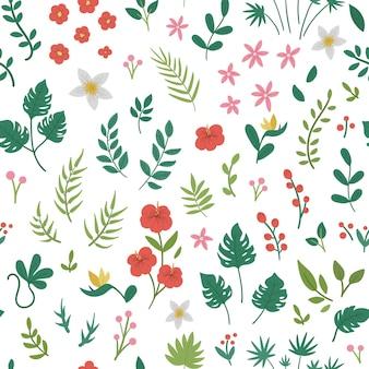 Flores tropicais, folhas e galhos