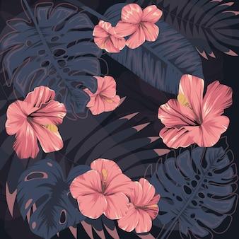 Flores tropicais. folhas exóticas. estampa de verão. ilustração do monstro e das palmas das mãos. vetor
