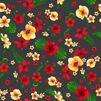 Flores tropicais. fundo floral. padrão sem emenda de flores.