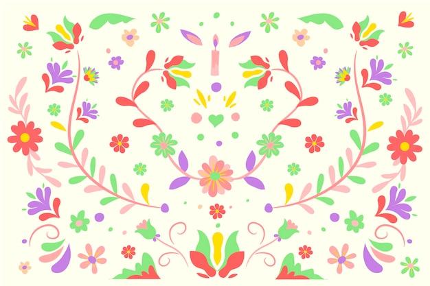 Flores vermelhas e verdes com folhas fundo mexicano