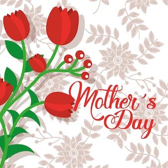 Flores vermelhas românticas e delicadas dia das mães fundo floral