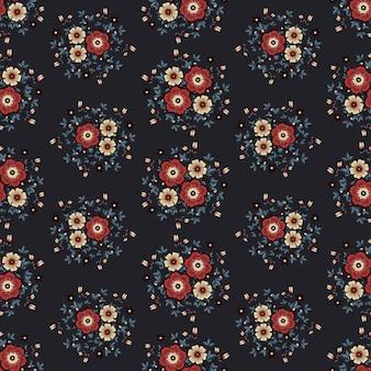 Flores vermelhas vintage grinalda hera estilo com galho e folhas, padrão sem emenda