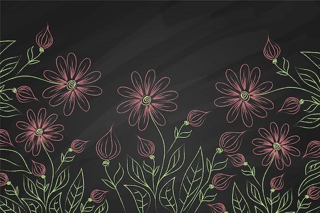 Flores violeta no fundo do quadro-negro